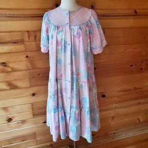 1980s Unlabeled Multi-Color, Floral, Cotton Blend